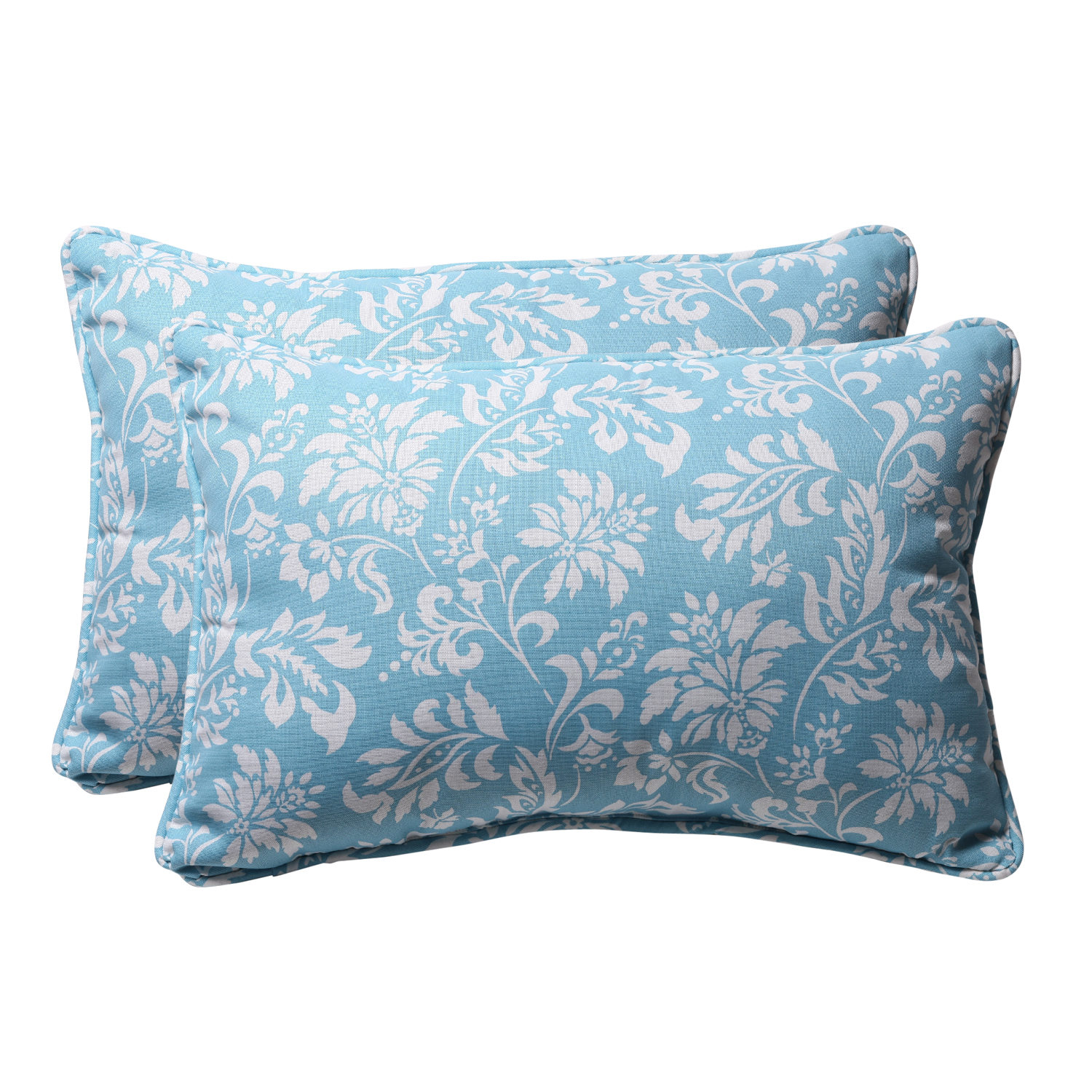"""CC Home Furnishings Pack of 2 Eco-Friendly Rectangular Tropical Blue Outdoor Throw Pillows 24.5"""" at Sears.com"""